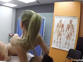 Helena Kramer and her horny physical therapist are having steamy sex, in the office