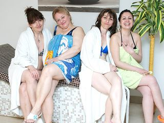 These gals enjoy to relax in an all mature sauna