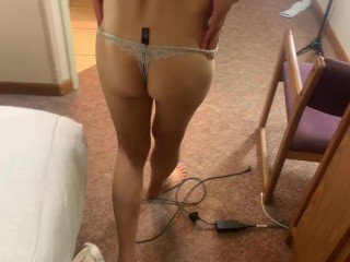 Gorgeous cougar arches over and gets torn up in front of motel mirror