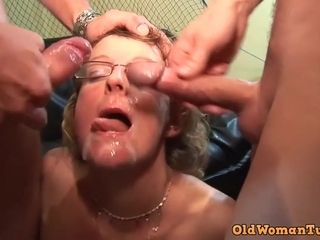 Horny granny in glasses first porn video