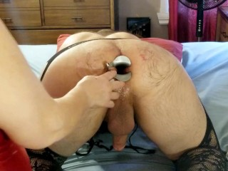 Spreading his cavernous bunghole with dual ass-plug and fucktoys - trailer