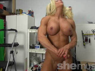 Naked Female Bodybuilder Blonde Flexes Her Huge Biceps
